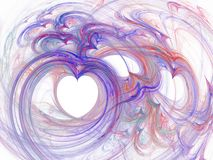Abstract fractal curves of heart purple lines Stock Photography