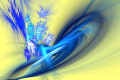 Abstract fractal Dancing blue flames and sparks on yellow Stock Image