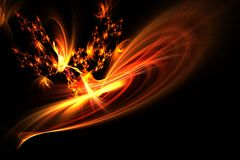 Abstract fractal Dancing flames and sparks on black Royalty Free Stock Photos