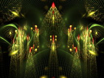 Abstract fractal de boompatroon van fantasiekerstmis Stock Afbeelding