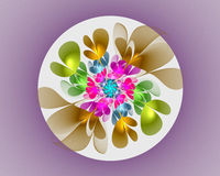 Abstract fractal design. Flower in circle on violet. Royalty Free Stock Photography