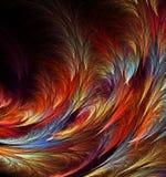 Abstract fractal door de computer geproduceerd beeld achtergrond met van multi-colored veren Royalty-vrije Stock Afbeeldingen