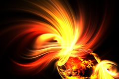 Abstract fractal fantastic bright the birth of fire. Abstract fractal yellow flash on a space backgrounds Stock Photography