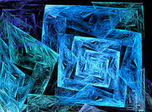 Abstract fractal fantasy blue  pattern and shapes. Stock Image