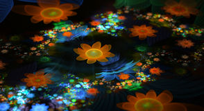 Abstract fractal fantasy field of flowers. Royalty Free Stock Photo
