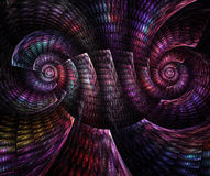 Abstract fractal fantasy magenta  spiral pattern of shell. Royalty Free Stock Image