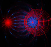 Abstract fractal fantasy red and blue  pattern and shapes. Royalty Free Stock Image