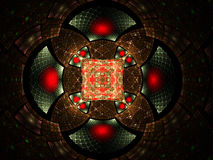 Abstract fractal fantasy red and brown pattern. Royalty Free Stock Image