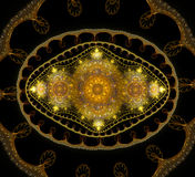 Abstract fractal fantasy yellow pattern and shapes. Fractal artwork for creative design,flyer cover, interior, poster royalty free illustration