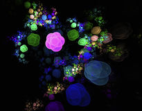 Abstract fractal field of flowers. On the black background Royalty Free Stock Photo