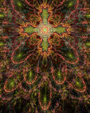 Abstract fractal floral cross symbol background in glowing sepia tinted orange,green and pink Stock Images