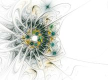 Abstract fractal flower computer generated image. Green yellow flower on white background. Copy space Royalty Free Stock Image