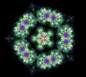 Abstract fractal futuristic colourful flower pattern. 3d render illustration of a fractal. art fantasy pattern. digital art design element. abstract Royalty Free Stock Photography