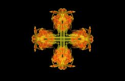 Abstract fractal golden green symmetric figure. On black Royalty Free Stock Image