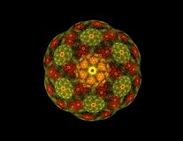 Abstract fractal golden green symmetric figure Stock Photos