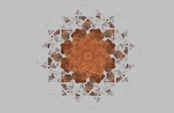 Abstract fractal golden symmetric figure on grey. Illustration Royalty Free Stock Photography