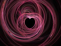 Abstract fractal heart. Pink fractal heart on black background stock illustration