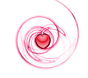 Abstract fractal with heart. Abstract fractal with red heart royalty free illustration