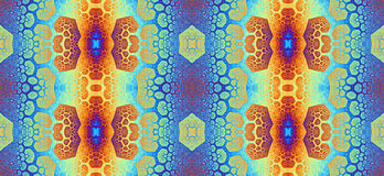 Abstract fractal high resolution seamless pattern for carpets, tapestries, fabric, and wallpapers in bright vivid colors Stock Photography