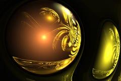 Abstract fractal magic orange ball on dark backdrop Royalty Free Stock Images