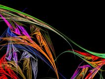 Abstract fractal with multi-colored bright stains. On a black background Stock Photos