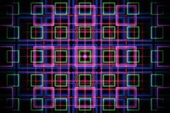 Abstract fractal net met gloeiende neonvierkanten Royalty-vrije Illustratie