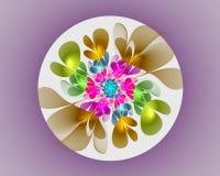 Abstract Fractal Ontwerp Bloem in cirkel op viooltje Royalty-vrije Stock Fotografie