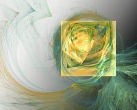 Abstract Fractal Ontwerp Gele vierkante en groene krommingen Stock Foto