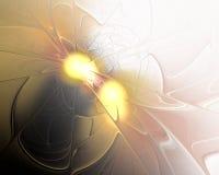 Abstract Fractal Ontwerp Twee gouden lichten Royalty-vrije Stock Fotografie
