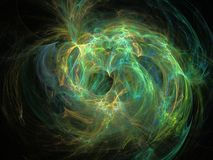 Abstract fractal patroon van lichtgevende gekleurde gebogen lijnen Stock Foto