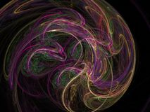 Abstract fractal pattern of luminous colored circular lines Royalty Free Stock Image