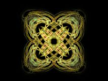 Abstract fractal pattern with yellow on a black background.  Royalty Free Stock Image