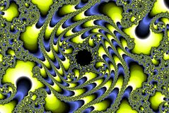 Abstract fractal planetoid image, yellow and sky blue Stock Photography