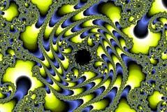 Abstract fractal planetoidbeeld, gele en hemelblauw Stock Fotografie