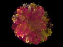 Abstract fractal rood geel bloemenpatroon Stock Afbeelding