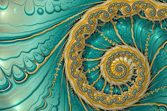 Abstract fractal spiral - digitally generated image. Abstract fractal background marine theme. Digital art: golden spiral on wavy background. For cards, covers royalty free illustration