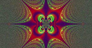 Abstract fractal star with colorful decorative rings around the center and rays coming from the center stock video footage