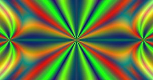 Abstract fractal star with colorful rays coming from the center and four decorative flowers coming from the center to the edge stock video