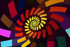 Abstract fractal swirl with brightly colored rectangles Stock Photo