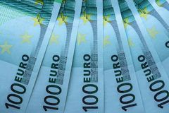 Abstract fragment the banknote of 100 euros Stock Photography