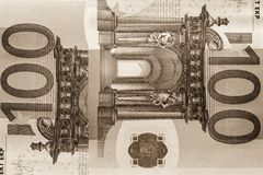 Abstract fragment the banknote of 100 euros Royalty Free Stock Photography