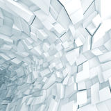 Abstract fragments pattern, 3d render. Abstract digital background, white futuristic interior with chaotic fragments pattern, 3d illustration Stock Photos