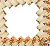 Abstract frame of 50 Euro banknote on white Royalty Free Stock Image