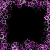 Abstract frame. Pink circles frame on black with copy space Stock Image