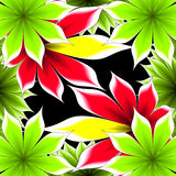 Abstract frame applique flowers. On a black background vector illustration