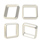Abstract frame boarders made of chrome metal. Abstract application frame copyspace square boarders made of chrome silver metal, set of four isolated on white vector illustration