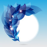 Abstract frame with branch of blue leaves. And lights vector illustration