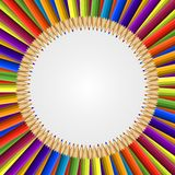 Abstract frame of colored pencils background. Vector illustration Stock Photography