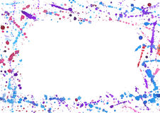 Abstract frame with colorful watercolor splashes. Isolated on white stock illustration