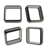 Abstract frame copyspace boarders of black plastic. Abstract application frame copyspace square boarders made of black glossy plastic, set of four isolated on royalty free illustration